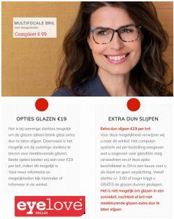 Aanbiedingen van Opticien in the Eyelove brillen folder ( Net gepubliceerd)