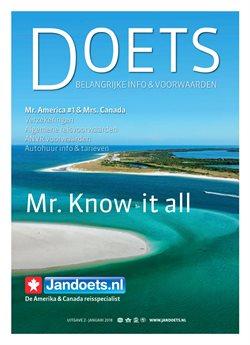 Reizen Aanbiedingen in de Jan Doets America Tours folder in Hoorn