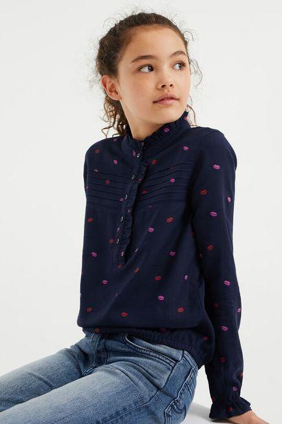 Aanbieding van Meisjes blouse met lippendessin voor 20€