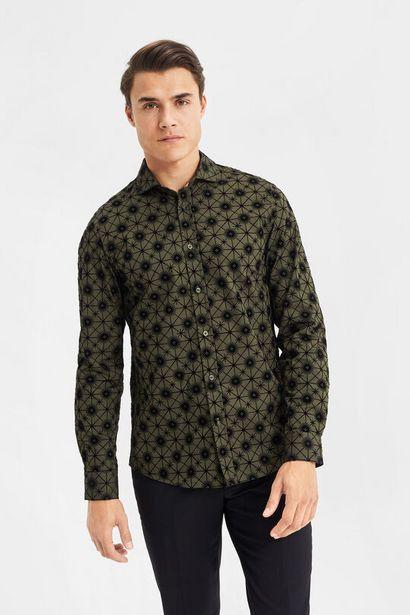 Aanbieding van Slim fit overhemd met dessin van velvet voor 40€