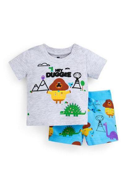 Aanbieding van Tweedelig grijs-blauw babysetje met T-shirt en short Hey Duggee voor jongens voor 10€