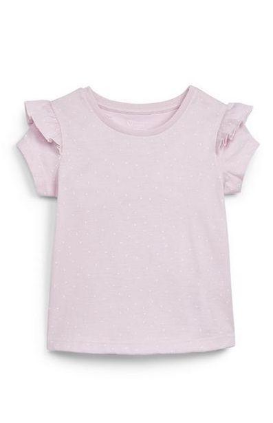 Aanbieding van Roze T-shirt met ruches op schouders voor baby's (meisjes) voor 1,8€