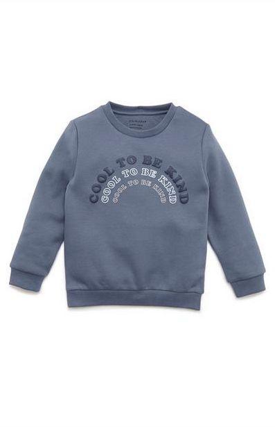 Aanbieding van Donkerblauwe jongenssweater met ronde hals en print met tekst voor 5€