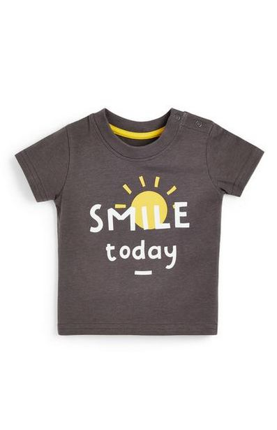 Aanbieding van Donkergrijs T-shirt met tekst voor baby's (jongens) voor 1,8€
