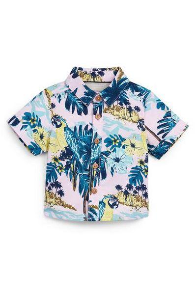 Aanbieding van Overhemd met tropische print in pastelkleuren voor baby's (jongens) voor 6€