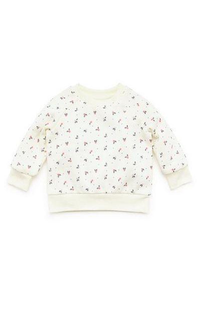 Aanbieding van Crèmekleurige sweater met ronde hals en print voor baby's (meisje) voor 4€