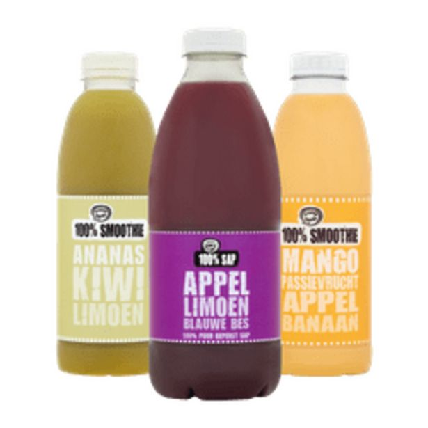 Aanbieding van Fruity King 100% sap of smoothies voor 2,99€