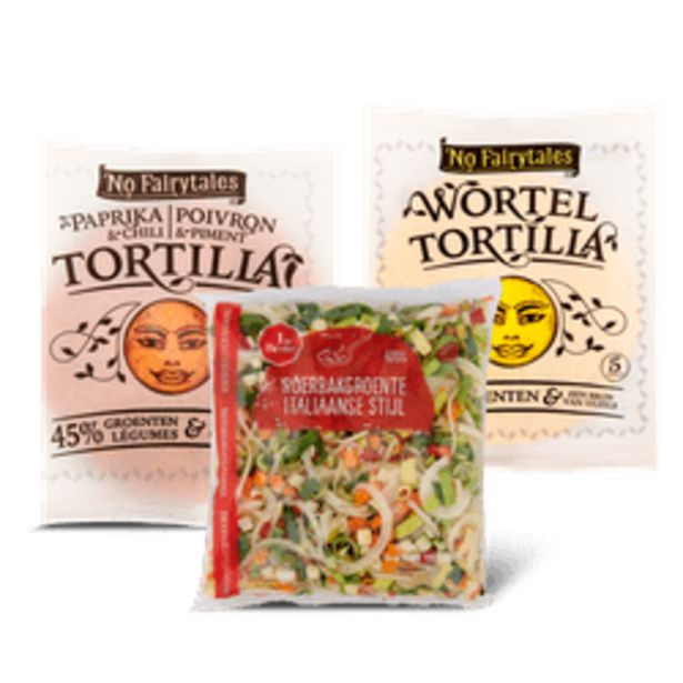 Aanbieding van No Fairytales tortilla of 1 de Beste Italiaanse roerbakgroente voor 1,99€